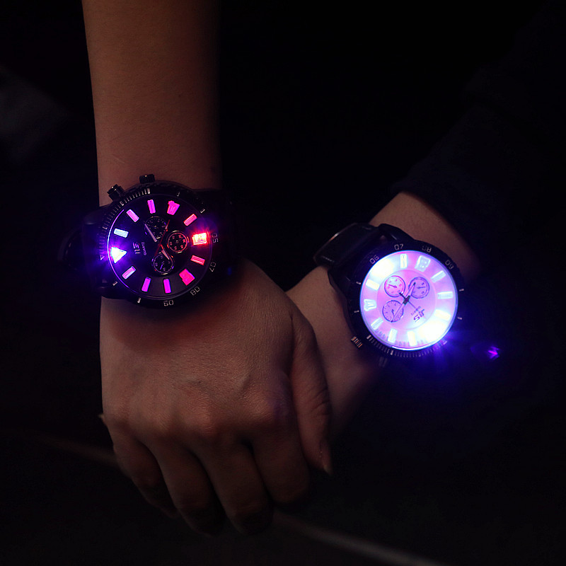 Fashion JIS Brand Big Dial LED Backlight Rubber Sport Watch Wrist Watch for Men Women Unisex