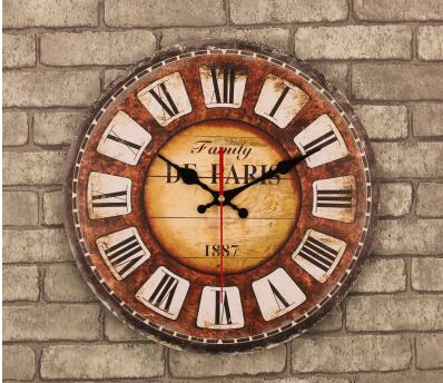 021381 14 Inch Vintage Wooden Wall Clock Large Shabby Chic Rustic Kitchen  Times Quatz Home Antique Style  In Wall Clocks From Home U0026 Garden On ...