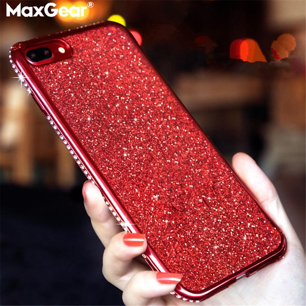 De lujo de cristal de diamantes de imitación de diamantes chapado para Xiaomi Redmi Note 5 mi 6 Pro Plus 6X 6A 8 SE A2 8SE Bling Glitter cubierta suave