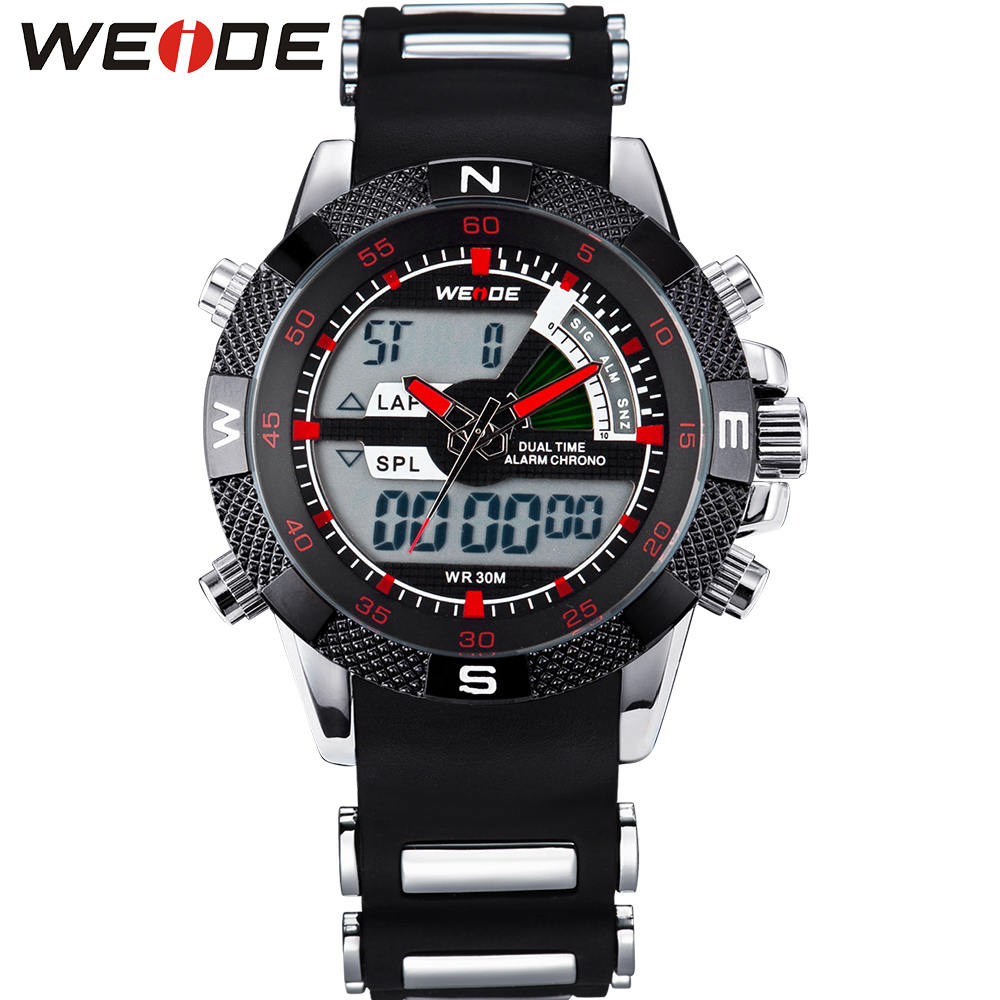 ФОТО WEDIE Luxury Brand Men Sport Military Watch Japan Quartz Silicone Strap 30m Waterproof Analog Digital Dual Display Wristwatch