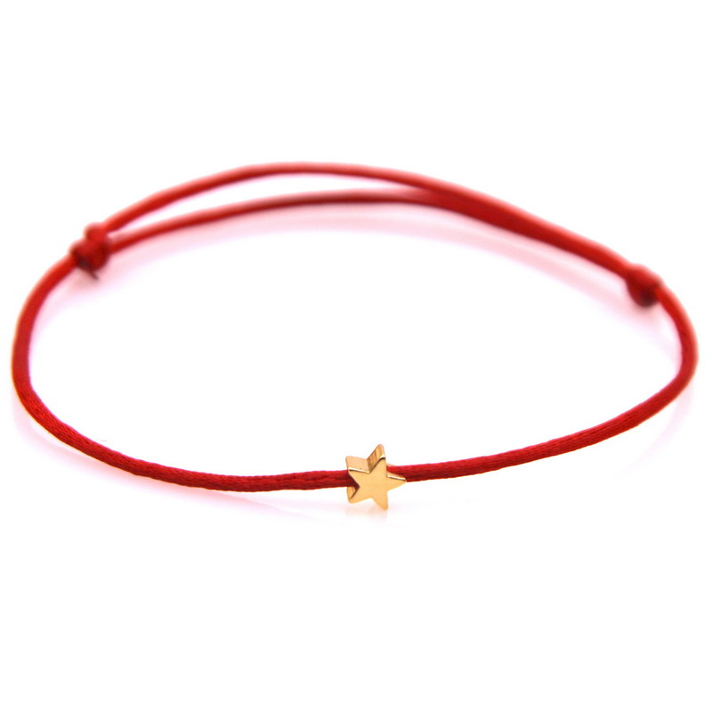 Lucky Golden Star Red String Bracelet For Women Men Kids Adjustable Rope Braided Bracelet Mom Daughter Couple Gift
