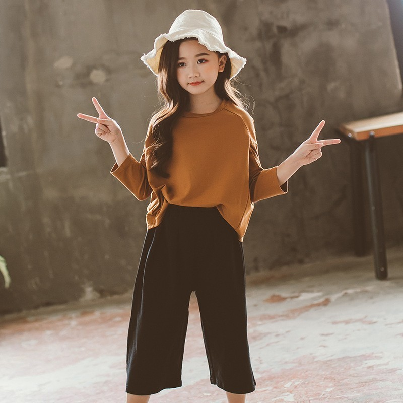 Back To School Teen Girl Top And Pants Set Autumn 2019 Little Fall Girls Outfits 2 Pieces Cotton Big Children Clothing Suits