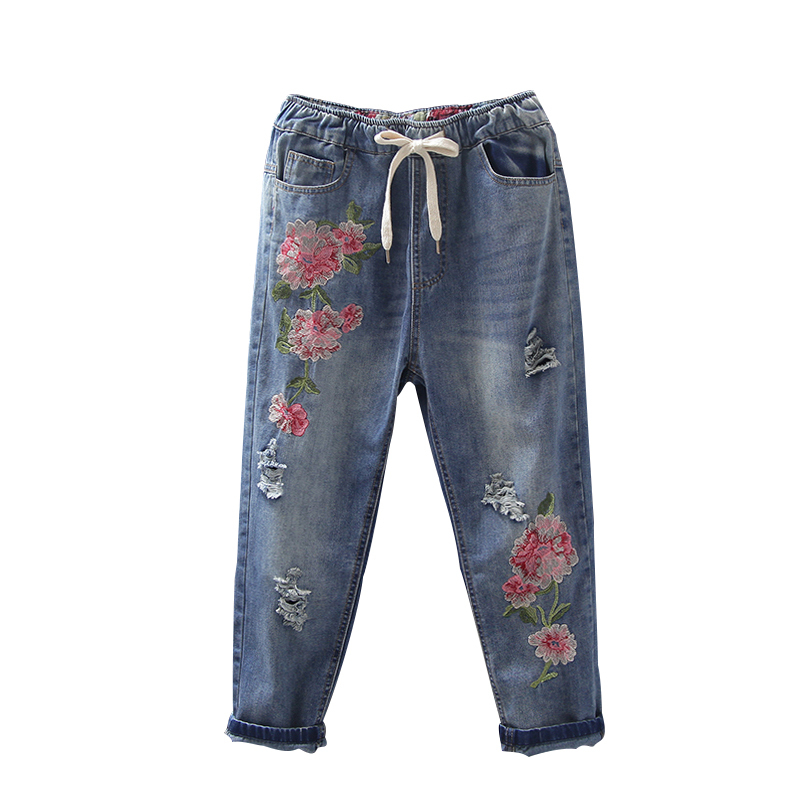 new 2017 National Style Embroidery Flower Mid Waist Casual Loose Harem Pants Jeans For Women Denim Jean Cropped Capris F187