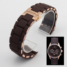 75f970a86449 Rubber watchband Steel in Brown silica gel rose gold clasp for AR5890 man  23mm AR 5891