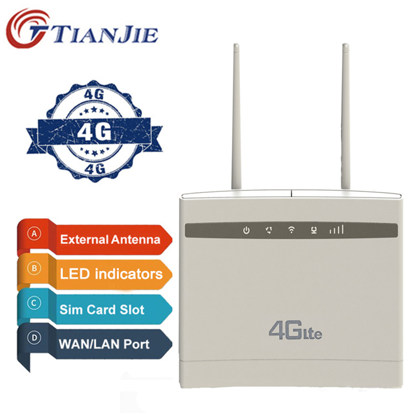 TianJie 4G Router/CPE Wifi Repeater/Modem Broadband With SIM Solt Wi Fi Router Gateway PK Huawei B525 B525S-65a Xiaomi/mi Router