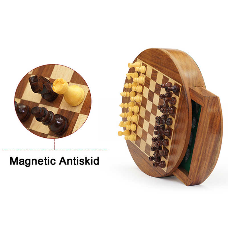 Мини высококлассные круглые твердые деревянные Магнитный ящик шахматы портативный Нескользящие шт коробка Изысканная головоломка Удобная плата запоминающего устройства игра