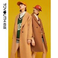 Toyouth Woolen Winter Women Coats Casual Warm Thick Coat Abrigo Mujer Blend Overcoat Long Ladies Wool Pockets New Coat 2019