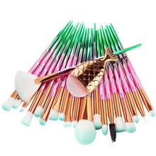 21 Pcs/set Fish Tail Diamond Mermaid Makeup Brushes Set Foundation Powder Eyeshadow Contour Blending Face Cosmetic Brush Tool