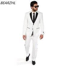white tuxedo jacket black lapel for wedding dress 2017 custom made suit men beidegroom suits for summer wear