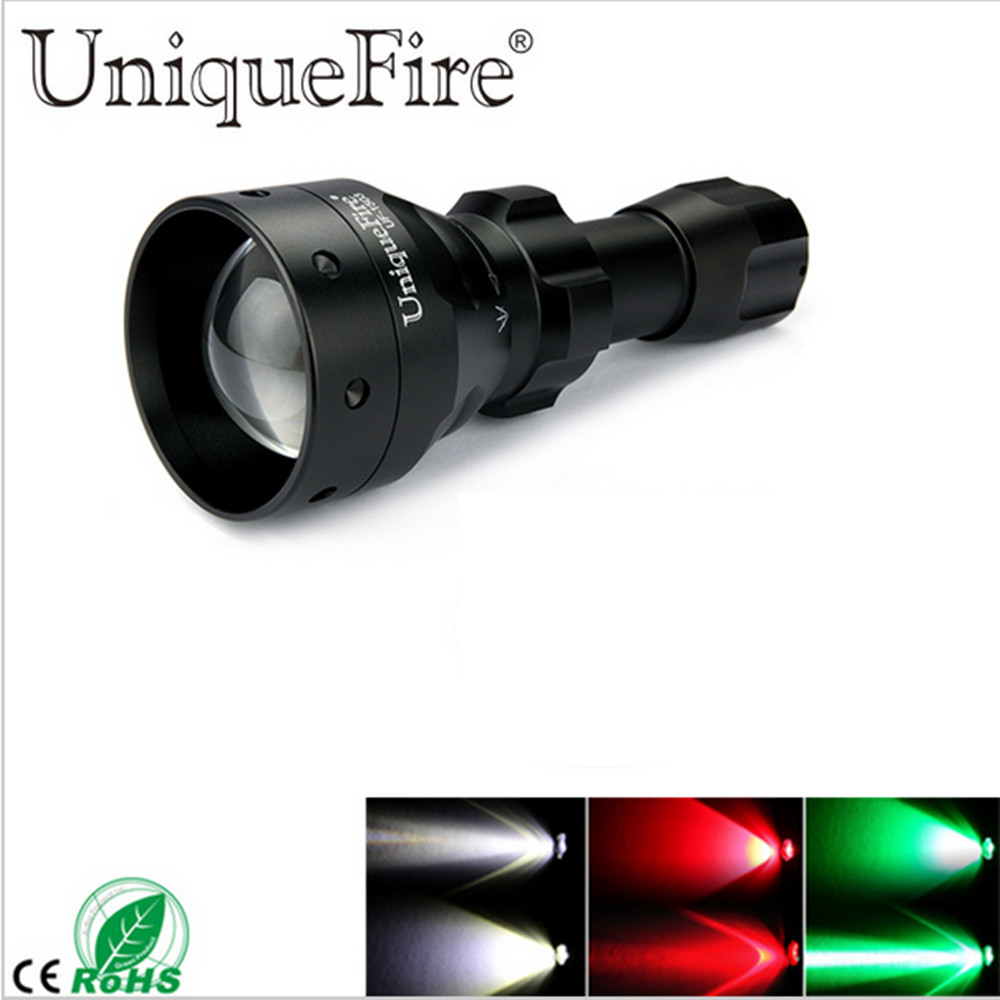 UniqueFire LED Flashlight 1503 3 Modes Cree XRE LED 50mm Convex Lens T50 Torch Green / Red / White Light For Camping & Hunting led hunting flashlight uniquefire green red white light uf 1503 xpe torch alumium metal for outdoor camping free shipping