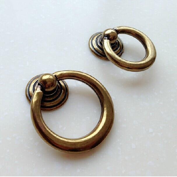 45mm 53mm Shaky Drop Ring Antique Brass Drawer Shoe Cabinet Knobs Pulls  Bronze Bedside Table Dresser