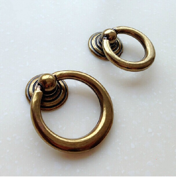 45mm 53mm shaky drop ring antique brass drawer shoe cabinet knobs
