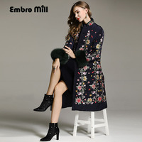 High end winter trench coats women vintage Elegant Floral embroidery loose lady Christmas Fox hair Down jack female M XXL