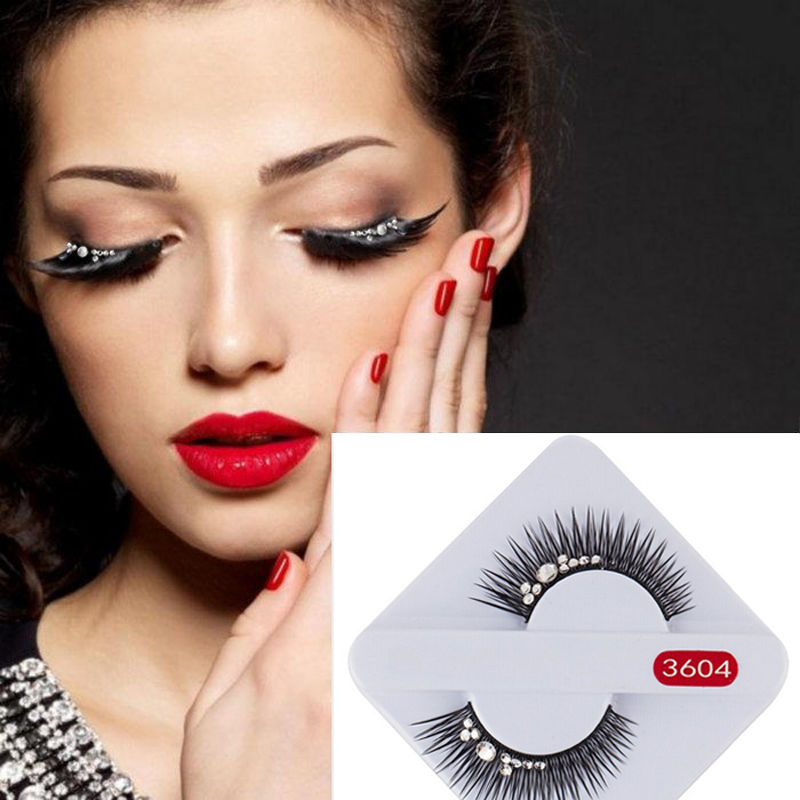 1 Pair Handmade 3D Rhinestone Mink Lashes Natural Fashion Fake Black Long Glitter Shimmery False Eyelashes Extension Makeup Tool