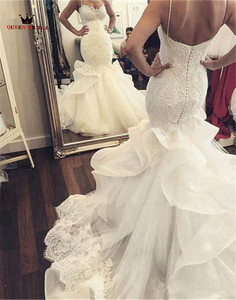 Image 4 - Mermaid Sweetheart Lace Pearls Sequins Big Train Sexy Luxury Formal Wedding Dresses Bridal Wedding Gowns Custom Made WD26M
