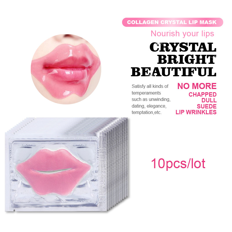 10Pcs Beauty Super Lip Plumper Pink Crystal Collagen Lip Mask Patches Moisture Essence Wrinkle Ance Korean Cosmetics Skin Care