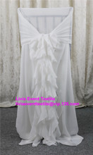 60pcs Chiffon Chair Cover Hood with Fancy Ruffled Sash Back For Wedding Event &Party Decoration