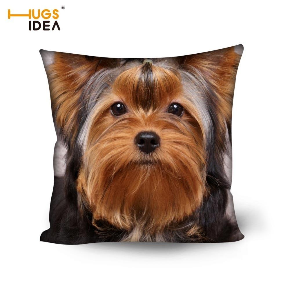 HUGSIDEA Cute 3D Pet Dog Yorkshire Terrier Polštář Potah Domů - Bytový textil