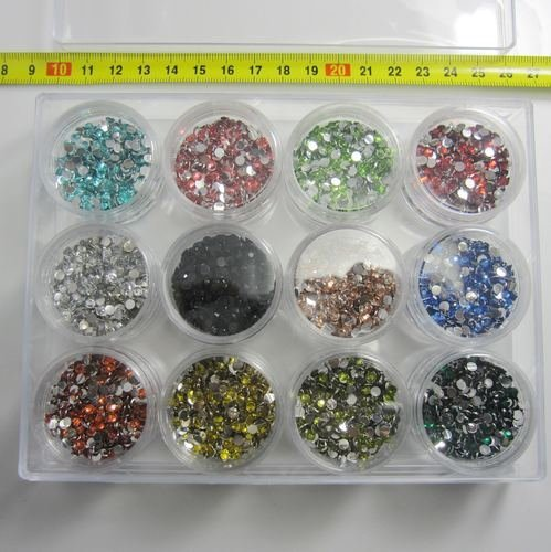 Resin Rhinestones Assorted Colors In Square Storage Box 12 Colors 3mm Sizes High Quality And Very Shine Diy