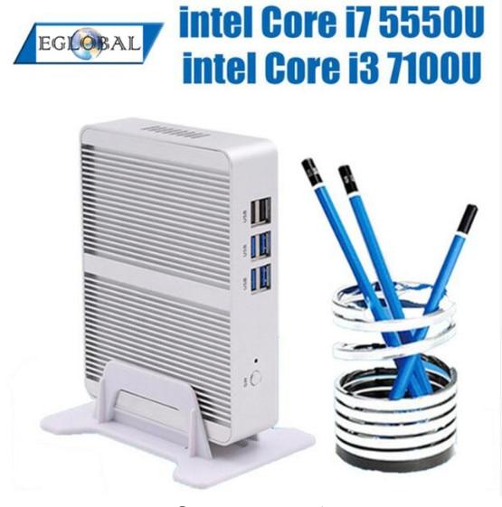 New Fanless Nuc Core I5 7200U I3 7100U DDR3L Memory Mini PC Linux Windows 10 Pro Graphics HD 620 4K HTPC HDMI VGA Computer