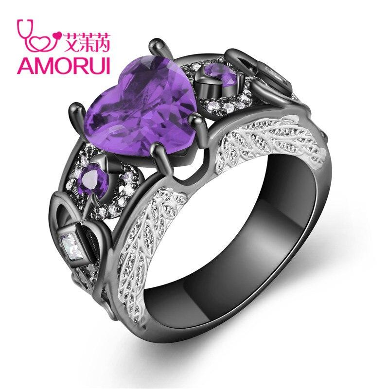 AMORUI Trendy Mulheres Amor Coração Vermelho Roxo Branco Pedra de Nascimento Mulher Anel de Noivado de Cristal Asas de Anjo Anéis Anillos Ouro Negro