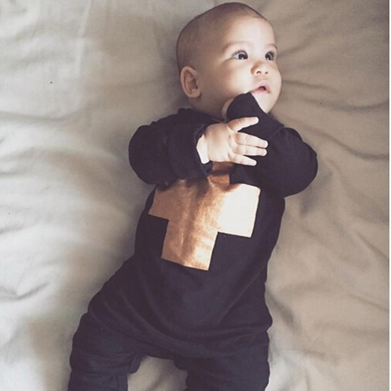 Baby Boy Black Rompers Golden Cross Print Children s