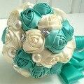 Ручной работы Высокое качество из бисера брошь шелковый невесты люкс свадебный букет невесты европа сша стразы искусственные цветы