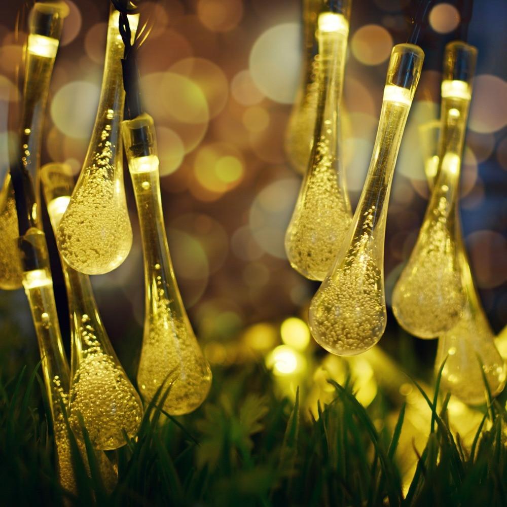 Warm White Solar Garden Fairy Lights: Warm White 30 LED Solar Lamp Fairy Lights Outdoor Powered
