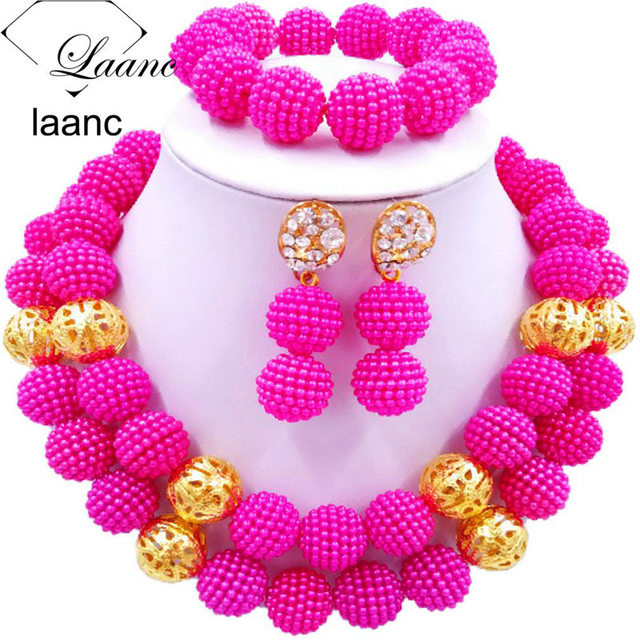 Laanc Nigerian Wedding African Beads Hot Pink Necklace And Earrings Fuschia Jewelry Sets Sp2r007
