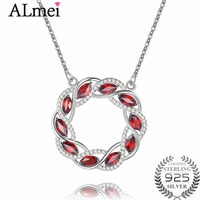 Almei Garnet Circle Olive Branch Peaceful Health Necklaces 925 Sterling Silver Women Vintage Pendant Necklace with Box 40% FN095