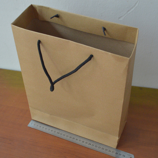 10pcs Lot 33 27 5 10cm Whole Kraft Paper Bags With String Handle