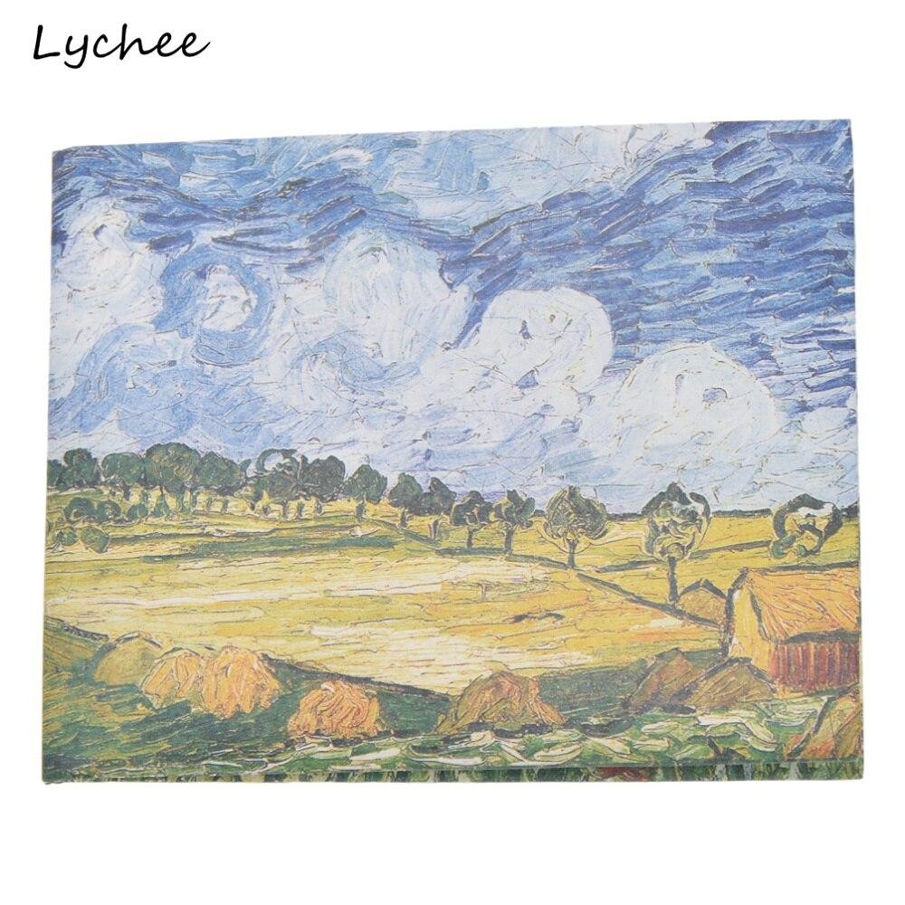 Focal20 Van Gogh Oil Paintings Artist Pattern Short Wallets Wheat Fields Almond Flowers Women Men Purse Money Clips