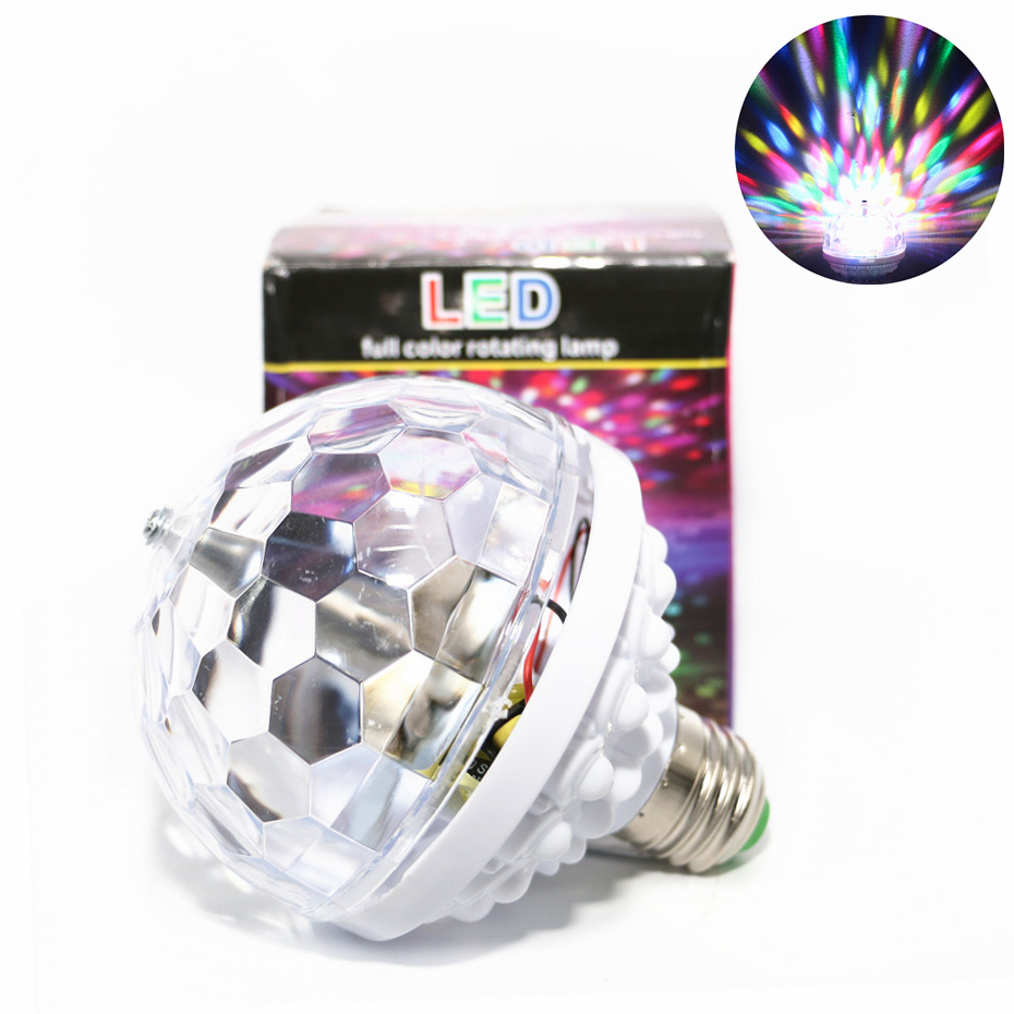 Full Colors Auto Rotate E27 RGB LED Lamp 6 Colors Change AC 85-270V 110V 220V 240V 6W Colorful Rotating Disco Party Holiday