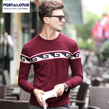 PORT & LOTUS Männer Strickwaren Pullover Herbst Marke Kleidung Oansatz Hülse Fashion Print Pullover Männlich Pullover 2 Farben 081 63532