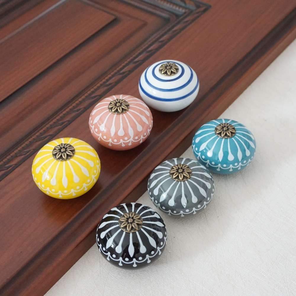 Ceramic Knob / Dresser Knobs White Blue Cabinet Pulls Knobs / Unique Kitchen Door Handle Knob Furniture Hardware