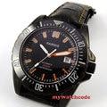 Парниш черный циферблат керамический ободок 20atm автоматические мужские кожаные часы для дайвинга P186