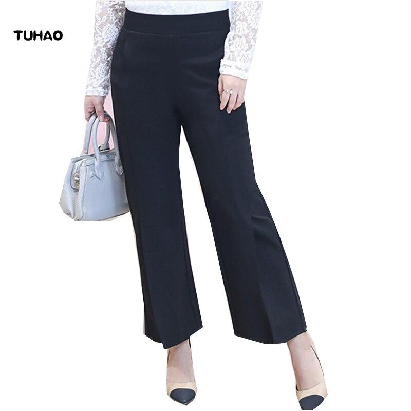 TUHAO High Quality Office Lady Elegant Trousers Women's Work   Pants   Black Plus Size 6XL 5XL 4XL   Wide     Leg     Pants   for Women YN09