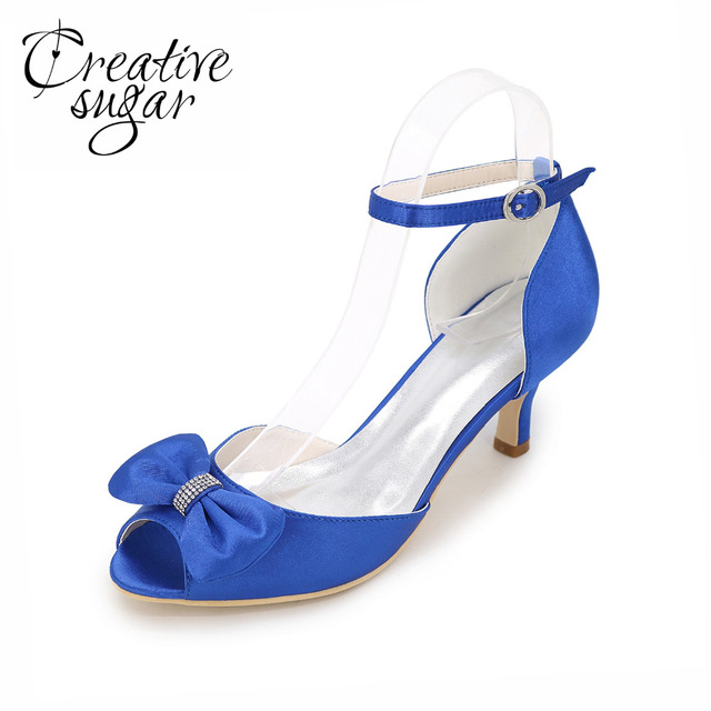 Creativesugar Sweet D orsay evening dress shoes with bowtie bridal wedding  bridemaids party cocktail lady heel separate pumps fd5294fc135a