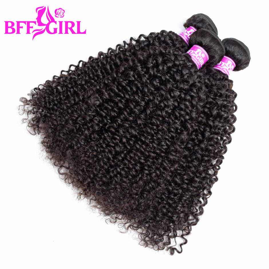 BFF GIRL Peruvian Kinky Curly Hair 3 Bundles Deal 100% Human Hair Weave Bundles 300g Natural Color Non Remy Hair Extension
