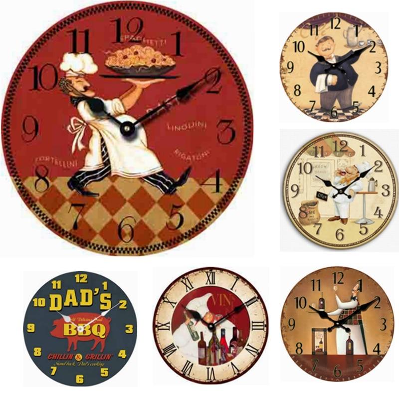grandes relojes de pared de madera de diseo moderno decorativo antiguo chef de cocina restaurante decoracin reloj reloj de par