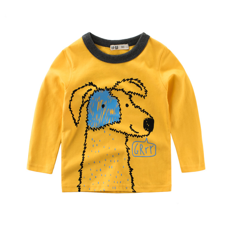 Tanggetu 2018 Spring Summer Childrens Clothes For Girl And Boy With Long Sleeves Cartoon Coat Cotton Print Cloth Yellow Gray