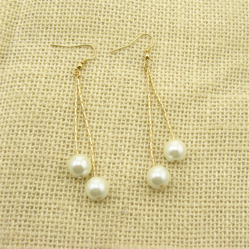Women Special store concise gold alloy simulated pearl long tassel pendant hanging earring brincos female earing