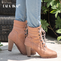 LALA IKAI Women Winter Ankle Boots Lace Up Flock Velvet Square Heels Western Autumn Stiletto High Heels Ankle Boots 014C2187 4