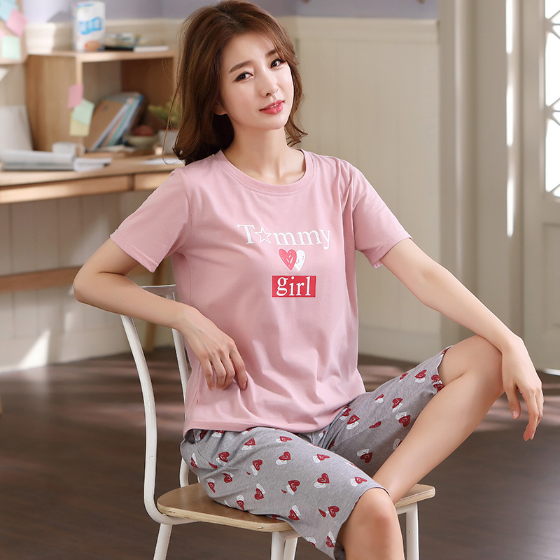 Summer Pajamas For Women Short Tops+Calf length Pants 100%Cotton Casual Loose Soft Plus Size M 5XL Women Pajamas Sets-in Pajama Sets from Underwear & Sleepwears