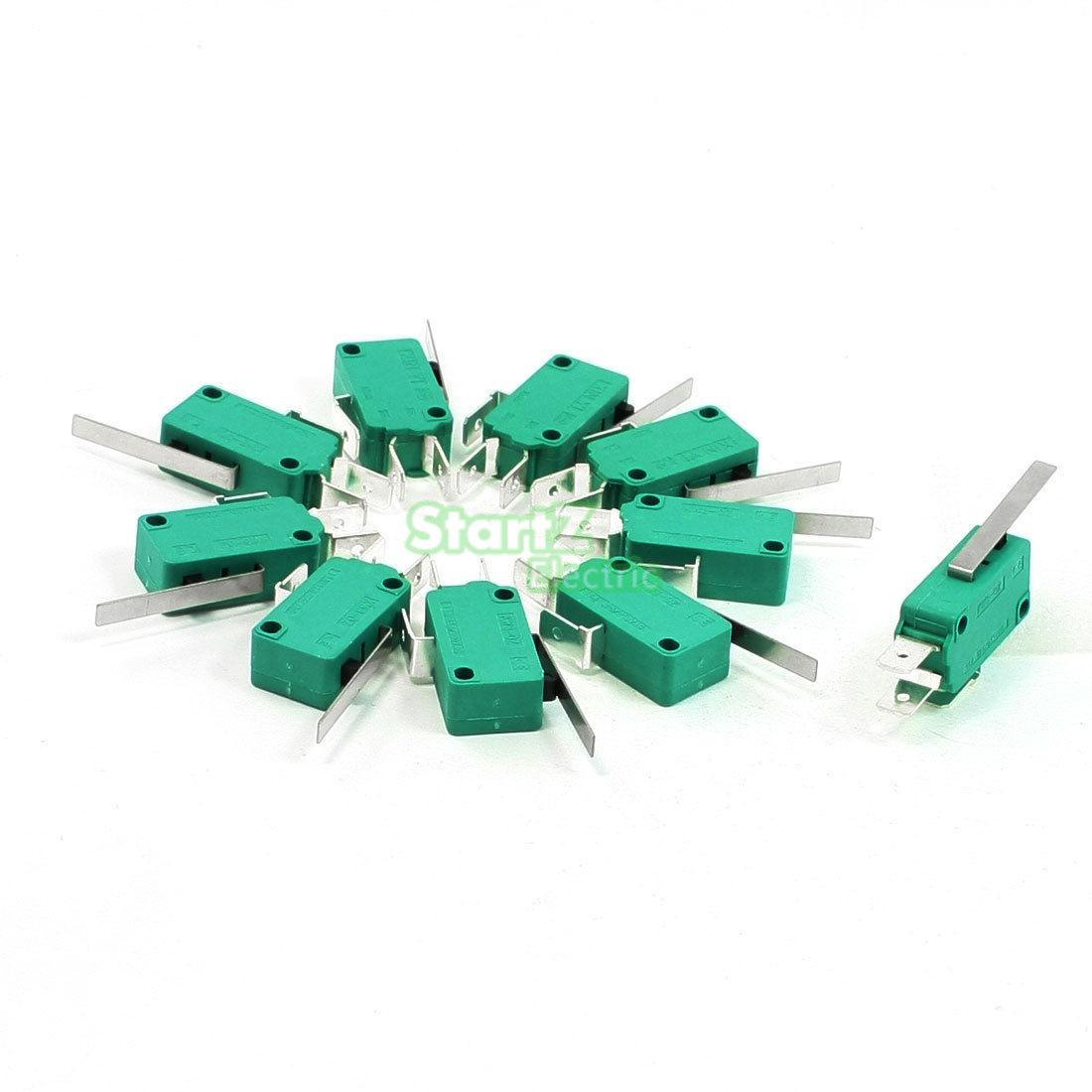 10 шт. microswitch концевой выключатель 3pin n/o n/c Длинный рычаг микропереключатель зеленый kw4-3z