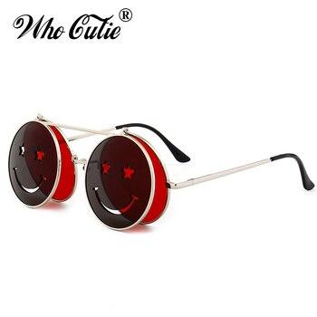 الذين كتي 2018 جولة الوجه حتى النظارات الشمسية الرجال النساء خمر ريترو Steampunk من المعادن الإطار الأحمر الأصفر كليب على مضحك نظارات شمسية OM486