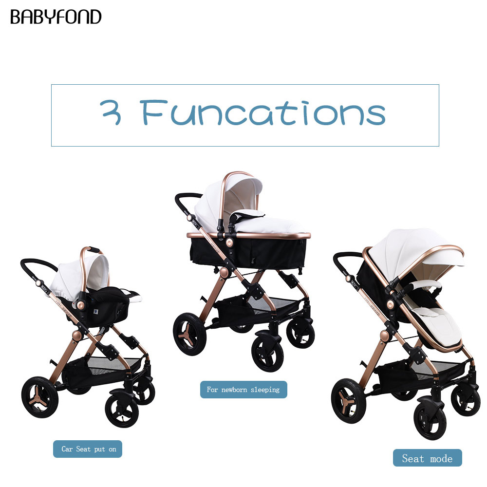 Golden baby Luxury Baby stroller high landscape baby Carriage Leather 3 in 1 stroller with car seat Pram CE safety BabyfondGolden baby Luxury Baby stroller high landscape baby Carriage Leather 3 in 1 stroller with car seat Pram CE safety Babyfond