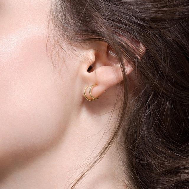 Minimalist 925 Sterling Silver Small Hoop Earrings Women Helix Cartilage Huggie Double Circle Earring Jewelry Ear Cuff