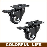 Export Quality High Load Bearing 2 Inch PU Casters With Brake Mute Industrial Trolley Flat Wheels