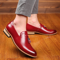 M anxiu Luxury Brand PU Pointed Toe Business Brogue Shoes Men Dress Casual Soft Rubber Shoes Breathable Wedding Shoes 3 Colors